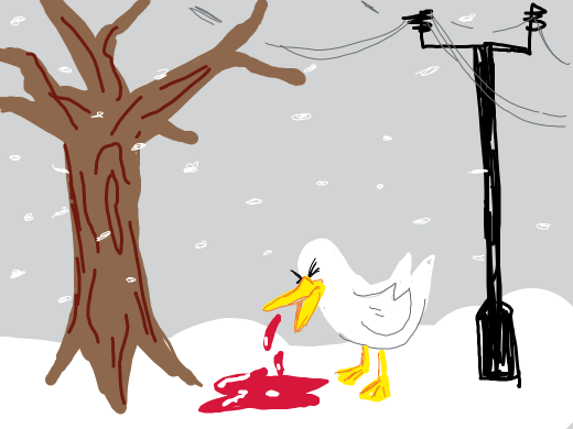 duck vomits blood into the snow near a tree, a phone pole and 2 peices of wood
