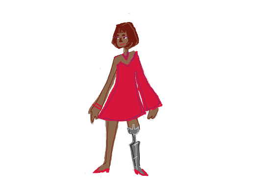 Woman with red dress and accessories with a prosthetic leg