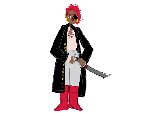 It's some primetime pirate-wear! Long black over coat, poofy offwhite shirt, high waisted grey pants, eye patch, and red hair and boots!