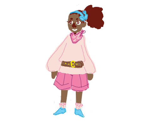 blue hair bow (ponytail) pink bandana pink flowy shirt with brown belt and pink knee shorts blue shoes and pink socks