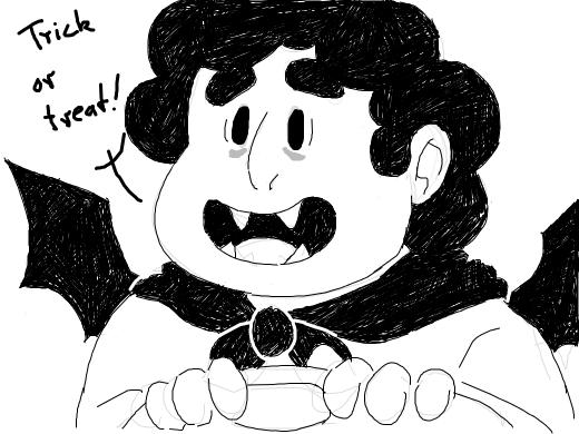 Steven looks really cute for Halloween
