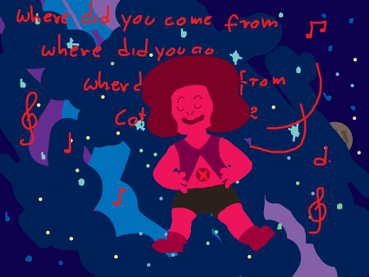 navy ruby floating through space and singing i guess? she looks happy