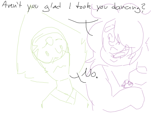 Amethyst: &quote;Aren't you happy I took you dancing?&quote; / Peridot: &quote;No.&quote;