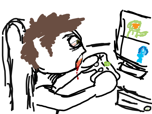 A boy playing xbox for atleast 12 hours straight