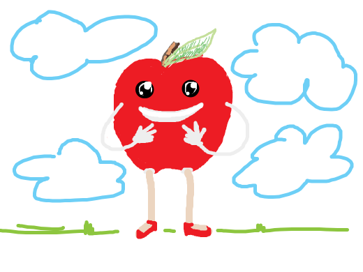 An apple with legs