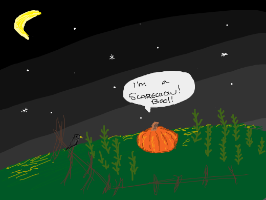 a pumpkin scarecrow doesn't know he's a pumpkin