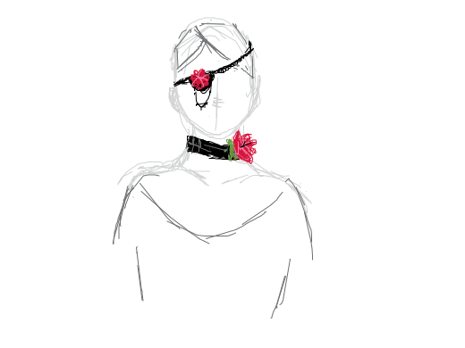 rose collar and rose eyepatch