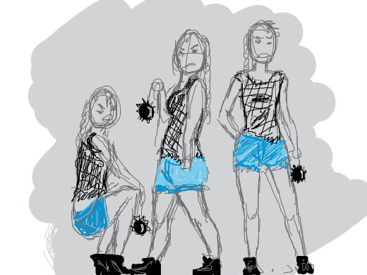 girl gang outfit. braided ponytail, black patterned tank top, blue jeans shorts, black sneakers. one of those balls w spikes on as a weapon