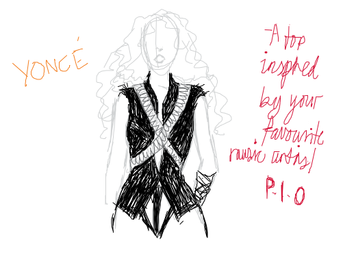 Draw a top inspired by your favorite music artist . (Pass it on!)