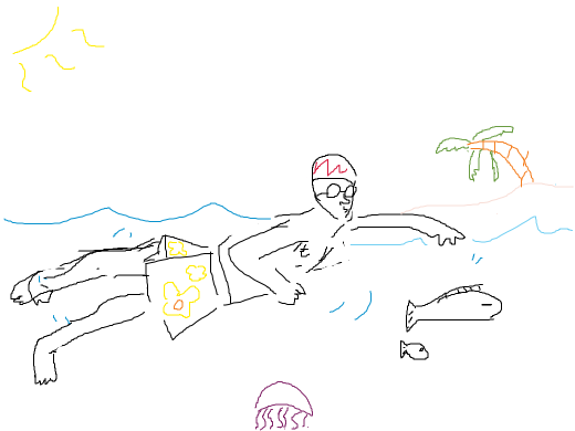 guy swimming with the fishes