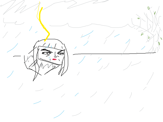 An angry box getting hit by lightning as he looks at the horizon where it seems to be a weird grey tree