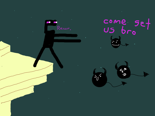 enderman confronts his imaginary demons while they stealthily urge him towards his impending doom; the bottomless pit