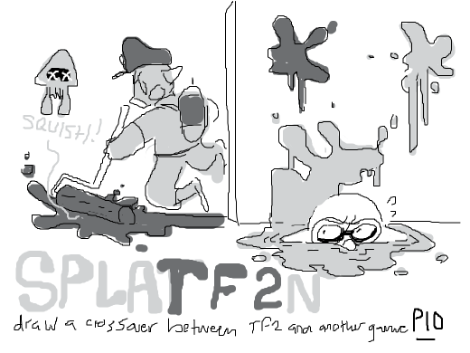 Draw a crossover between TF2 and another game you like, pass it on
