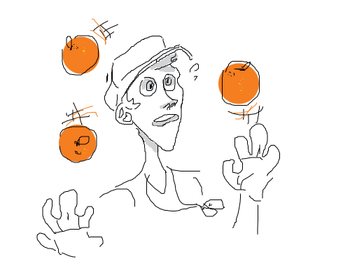 Scout juggles some oranges