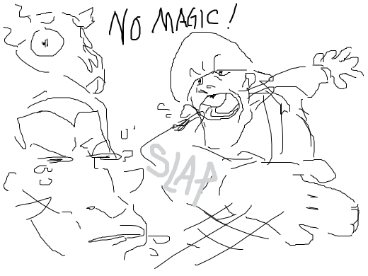 Soldier slaps the magic outta your mouth!