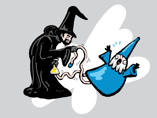 Wizard Black tests his Bone Melter Potion on Wizard Blue. &quote;It works, your shin bones are turned to mere jelly&quote; he exclaimed.
