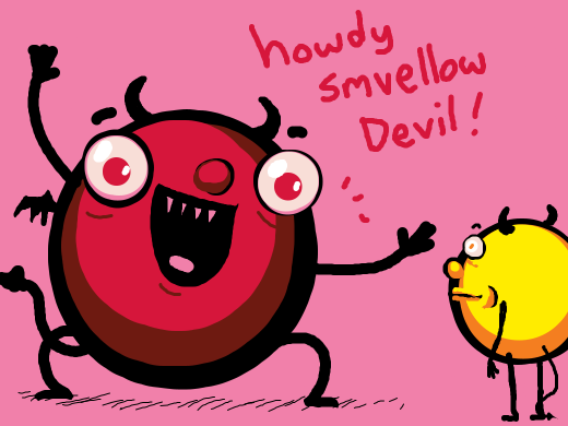 A demon waving and saying howdy smvellow Devil