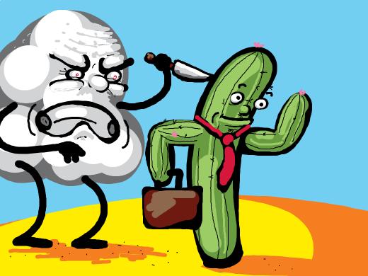 cloud tries to kill humanoid cactus