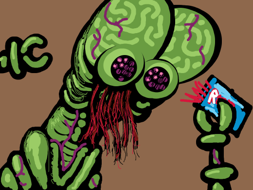 green alien with red vines