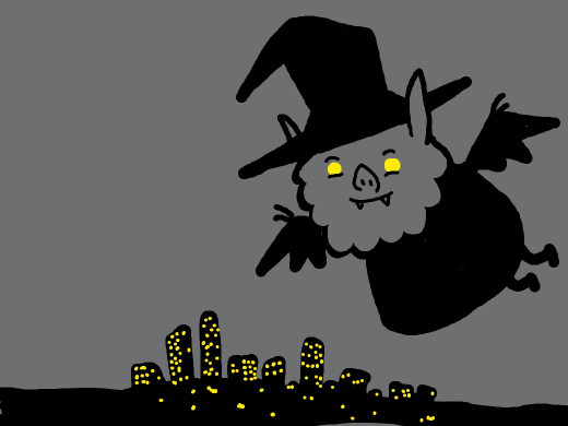 Massive bat wizard looms over the town at night.