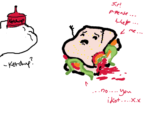 a man is considering putting ketchup on a sandwhich. he cant decide if it needs help or ketchup. it needs help.