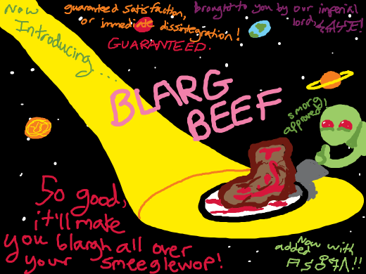 An alien advertisement for some sort of food that looks like a cross between a steak, a leather shoe, and a lava lamp.