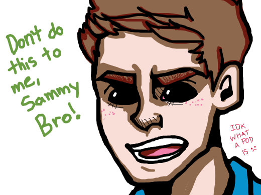demon!dean sits in some kind of black pod, saying &quote;Don't do this to me Sammy Bro&quote;