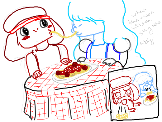 ruby and sapphire want to recreate the lady and the tramp scene with the pasta, but sapphire remembers that they dont eat
