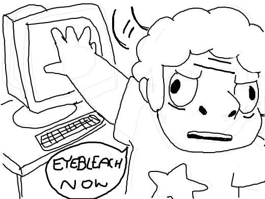 steven finds something on the internet he really regrets seeing and turns away from the computer