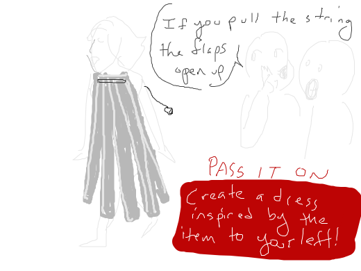 create a dress inspired by the item to your left! Pass it on!