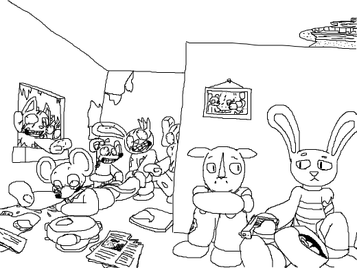a rabbit, a rhino and a nerdy mouse are standig infront of a group of zombies, no way out. rabbit is encouraging rhino to kill himself.
