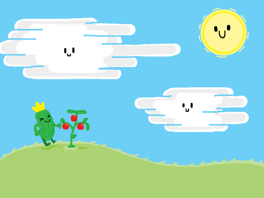 Mr pickle is picking tomatoes as the clouds smile at him. He looks very jolly. And fuzzy. A fuzzy, jolly, pickle king.