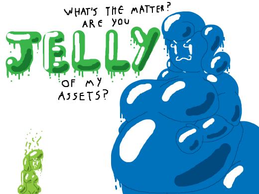 A big blue jelly girl The skinny jelly girl is irritated with her
