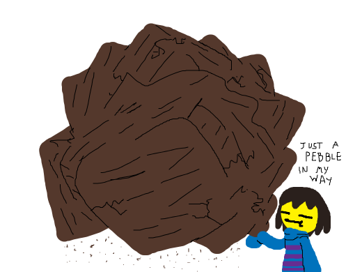 frisk is holding what seems to be a rock