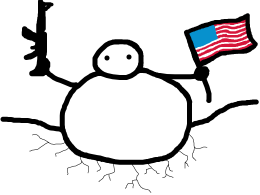 stickman with guns and USA flag