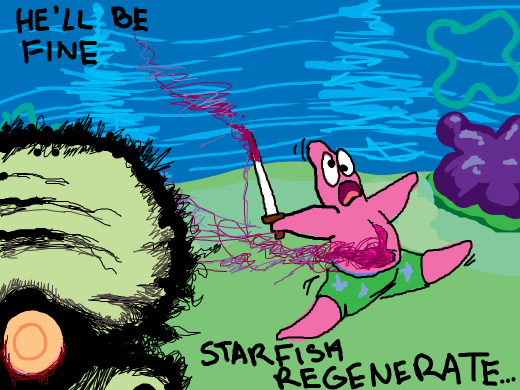Patrick commits seppuku under the sea! Squidworth is slightly upset, but I suspect he's figured out about starfish regeneration.