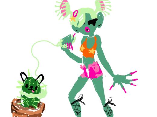 A venus-flytrap girl walking her poodle. I think.