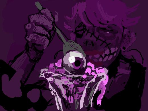 purple haired zombie chick eating a brainy ice cream sundae