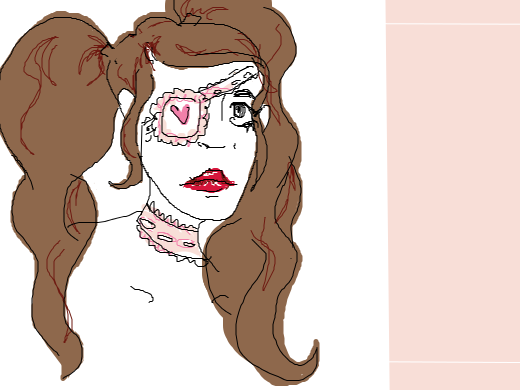 Brown haired girl with a lace eye patch, lace choker, and red lips