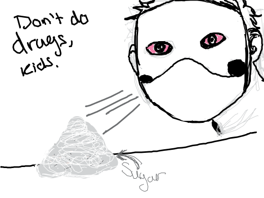 Zacharie sniffs sugar (aka drug i guess) and has his eye pink and stuff.