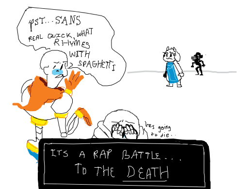 sans and undyne make toriel and papyrus have a rap battle to
