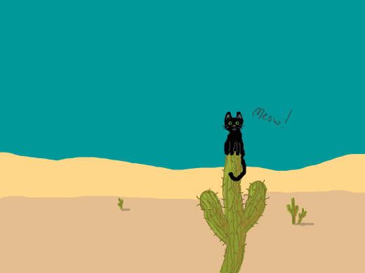 a cat on a cactus