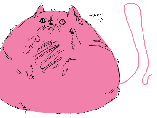 obese pink cat with obnoxiously long and thin tail