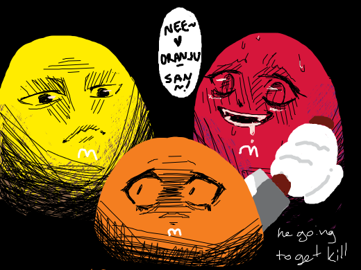 This is what happens when m and m's start sacrificing who gets eaten next... (O)_(O)
