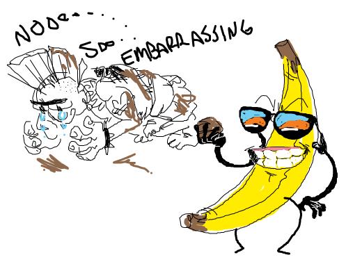 the banana throws shit at a punk