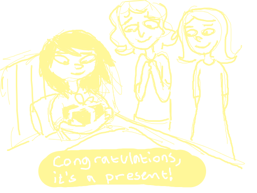 Some gals giving birth to presents