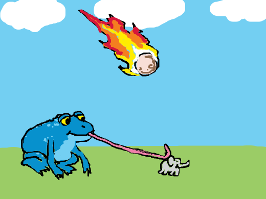 A giant blue frog that is going to eat a small elephant, while a meteor is going to smash on the ground