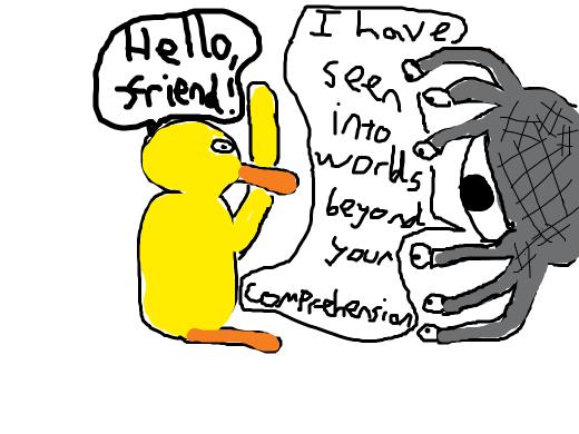 Bold man-duck politely greeting watcher