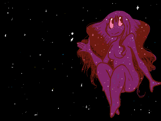 A Glitter Galaxy Slime girl. Ya know ive never wanted to have cotis with space until today