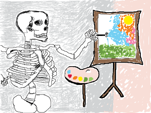 Alien skeleton artist is painting. He wears sunglasses, wich are not very practical for the task.